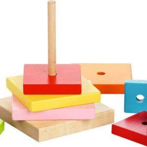 Barevná pyramida - dřevěná skládačka 9 dílů