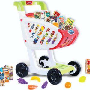 Dětský nákupní vozík s českým zbožím a plastovými potravinami