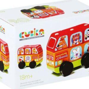 Minibus šťastná zvířátka - dřevěná skládačka 7 dílů