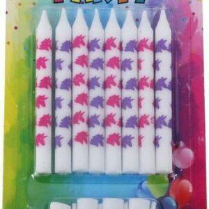 Svíčky 8ks + stojánky 8ks Jednorožec