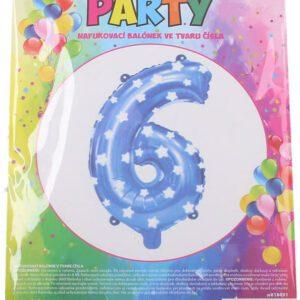 Balónek nafukovací - číslo 6 modrý
