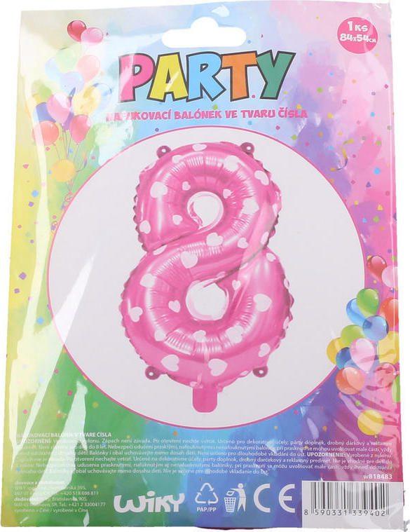 Balónek nafukovací - číslo 8 růžový