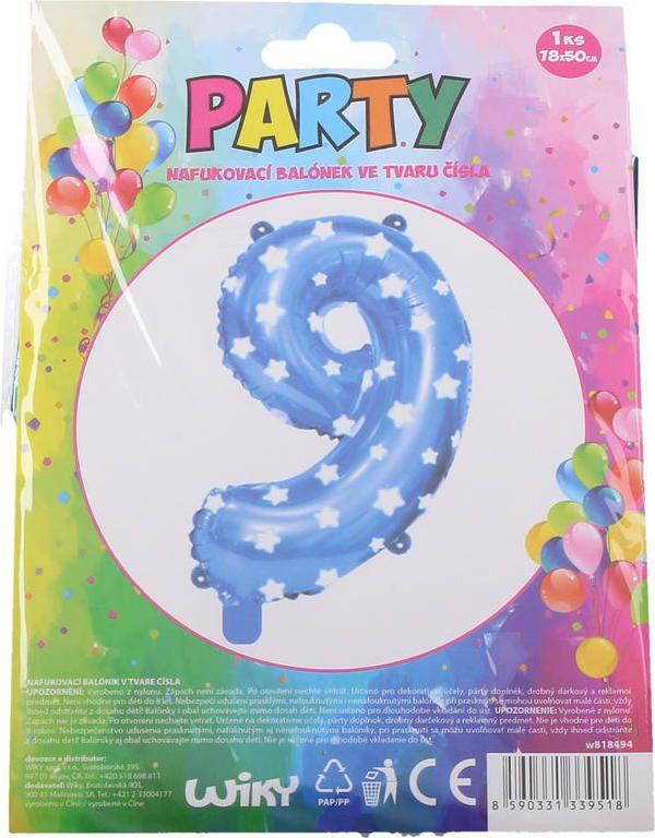 Balónek nafukovací - číslo 9 modrý